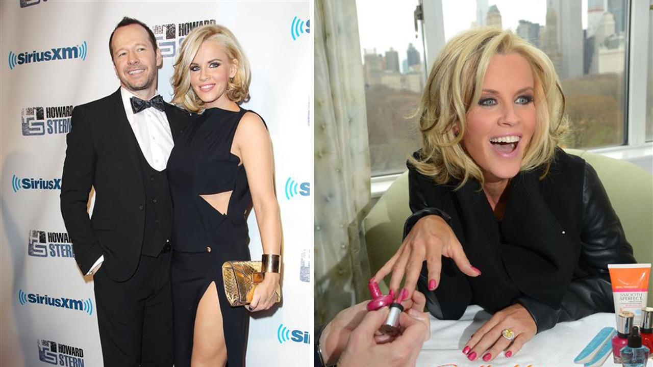 Jenny McCarthy and Donnie Wahlberg attend Howard Sterns birthday bash on Jan. 31, 2014. McCarthy announced on April 16, 2014 that they are engaged. / Jenny McCarthy shows her engagement ring while getting a Sally Hansen manicure on April 16, 2014.Kristina Bumphrey / Michael Simon / Startraksphoto.com