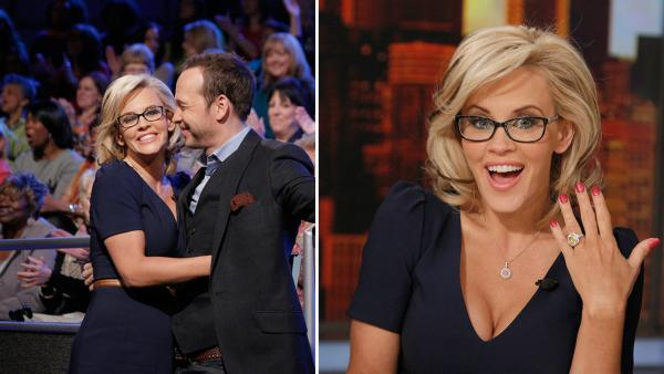 Jenny McCarthy, wearing a yellow sapphire engagement ring, embraces fiance Donnie Wahlberg on ABCs The View on April 16, 2014. McCarthy, a co-host on the show, announced their engagement that morning. - Provided courtesy of ABC Photo / Heidi Gutman