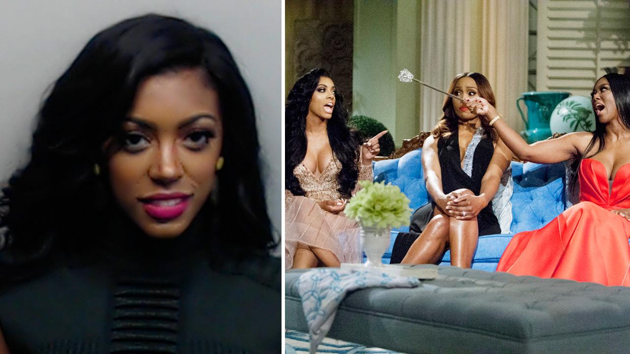 L-R: The Real Housewives of Atlanta stars Porsha Williams, Cynthia Bailey and Kenya Moore tape the season 6 reunion show. Williams, formerly Stewart, and Moore got into a fight and Williams was arrested for misdemeanor battery on April 16.Wilford Harewood / Bravo / Fulton County Sheriff's Office
