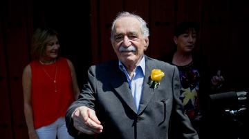 Gabriel Garcia Marquez, a Nobel Prize-winning novelist and journalist, died at age 87 on April 17, 2014. He is pictured here greeting fans outside his home on his birthday in Mexico City on March 6, 2014. - Provided courtesy of AP Photo / Eduardo Verdugo