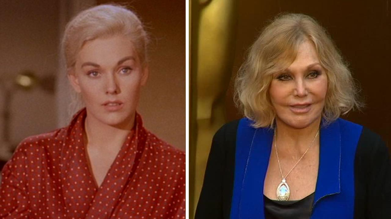 Kim Novak appears in a scene from the 1958 movie Vertigo. / Kim Novak, now an artist, walks the red carpet at the 2014 Oscars in Hollywood, California on March 2, 2014. <span class=meta>(Paramount Pictures &#47; OTRC)</span>