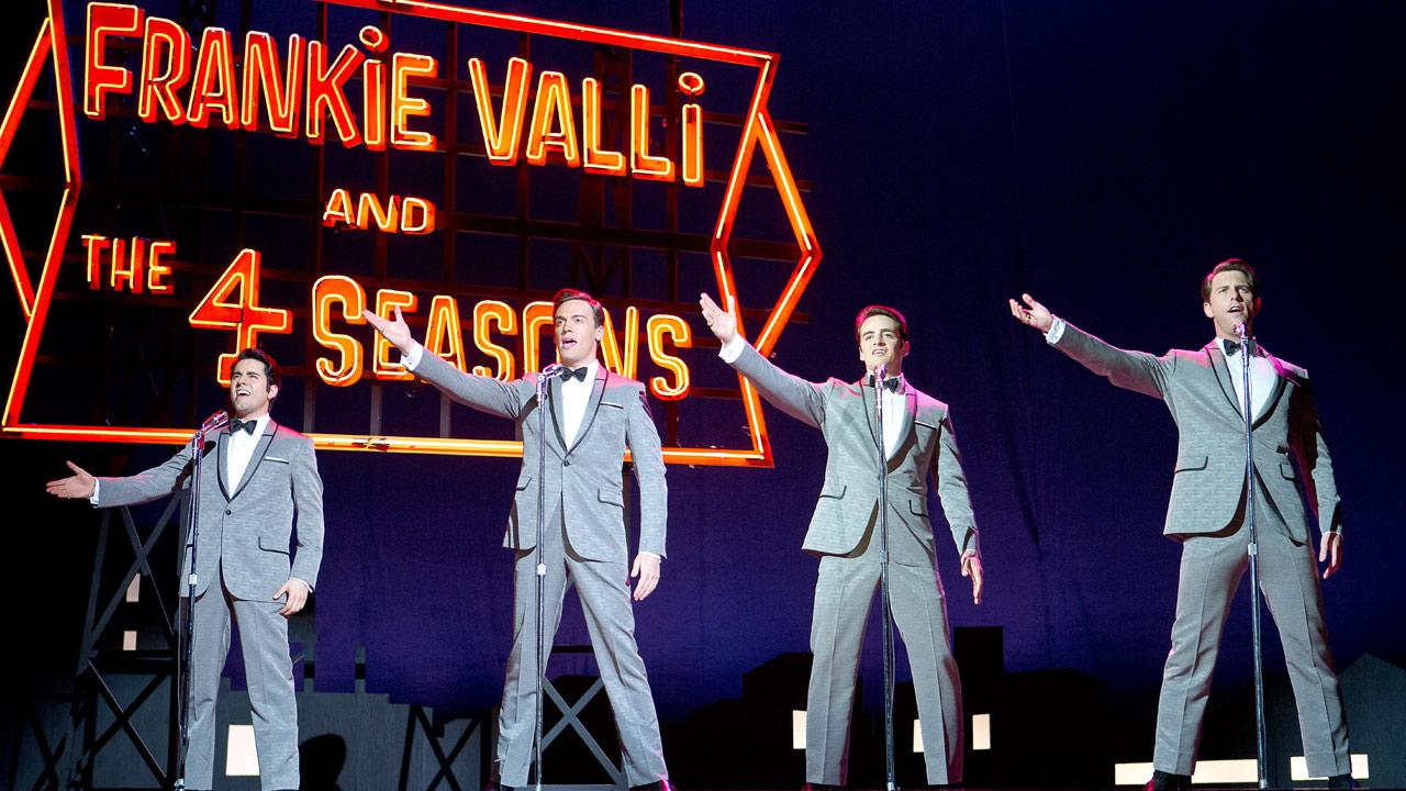 (L-r) JOHN LLOYD YOUNG as Frankie Valli, ERICH BERGEN as Bob Gaudio, VINCENT PIAZZA as Tommy DeVito and MICHAEL LOMENDA as Nick Massi in a scene from the 2014 musical JERSEY BOYS.