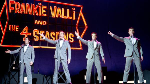(L-r) JOHN LLOYD YOUNG as Frankie Valli, ERICH BERGEN as Bob Gaudio, VINCENT PIAZZA as Tommy DeVito and MICHAEL LOMENDA as Nick Massi in a scene from the 2014 musical JERSEY BOYS.  - Provided courtesy of Keith Bernstein / WARNER BROS. ENTERTAINMENT INC. AND RATPAC ENTERTAINMENT