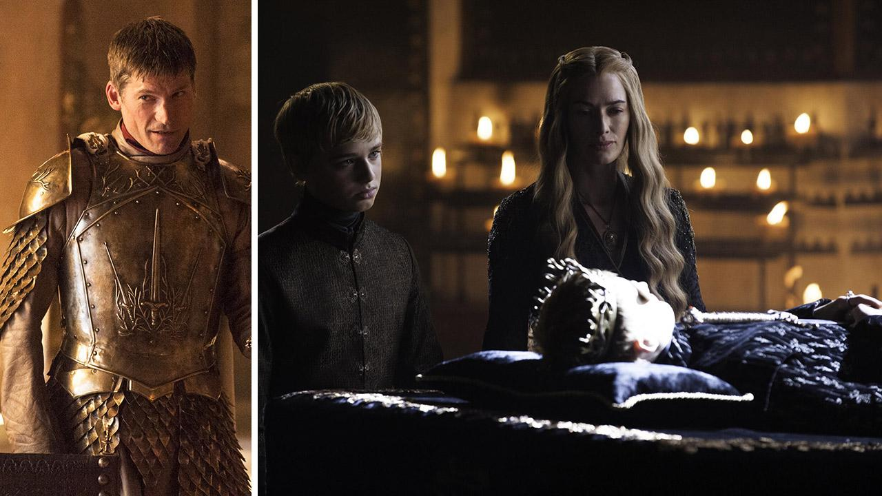 Nikolaj Coster-Waldau appears as Jaime Lannister, Dean-Charles Chapman as Tommen Baratheon, Lena Headey as Cersei Lannister and Jack Gleeson as the late King Joffrey Baratheon, in scenes from Game of Thrones, season 4, which premiered in April 2014.