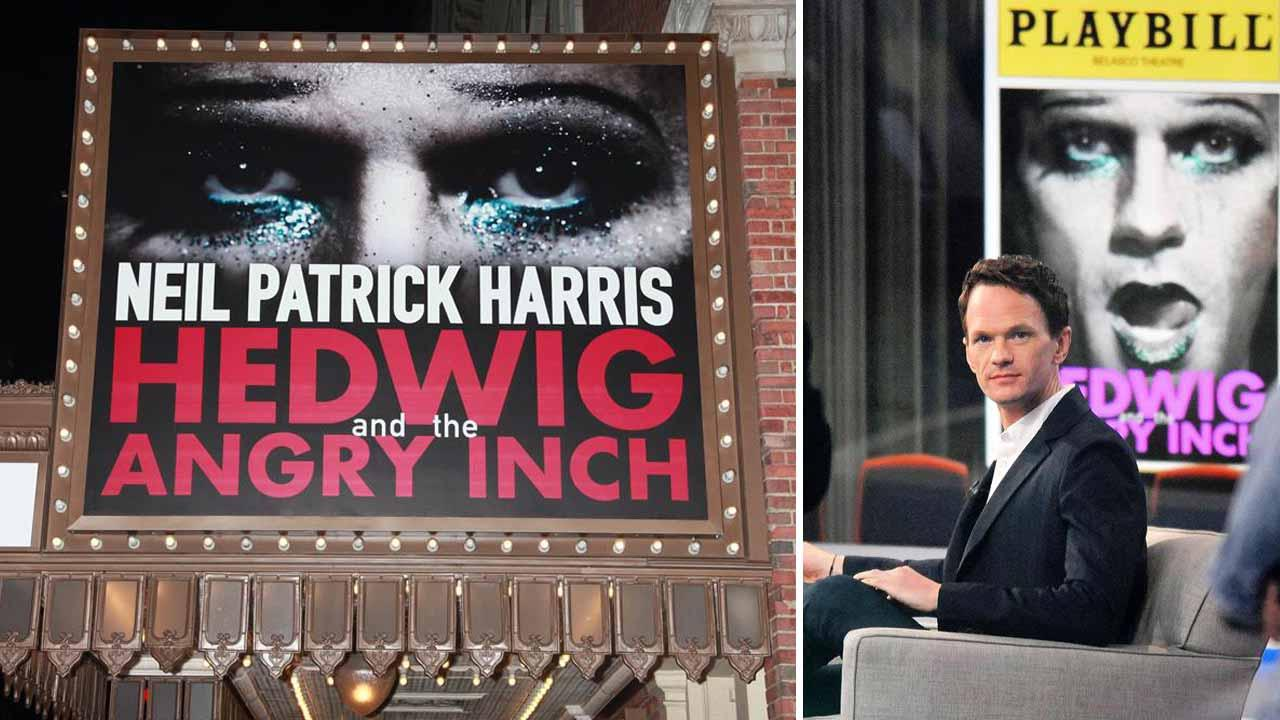 Left - A marquee for the Broadway play Hedwig and the Angry Inch dated March 19, 2014. Right - Neil Patrick Harris appears on Good Morning America on April 17, 2014.