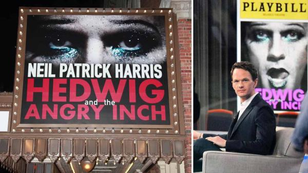 Left - A marquee for the Broadway play Hedwig and the Angry Inch dated March 19, 2014. Right - Neil Patrick Harris appears on Good Morning America on April 17, 2014. - Provided courtesy of Adam Nemser / Ken Katz / startraksphoto.com