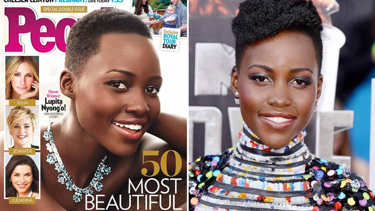 Lupita Nyongo appears on the cover of People magazines Most Beautiful issue for 2014. Lupita Nyongo appears at the 2014 MTV Movie Awards on April 13, 2014.