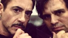 Mark Ruffalo and Robert Downey Jr. appear in a photo Ruffalo posted on his Twitter account from the set of the new Avengers film on April 23, 2014. - Provided courtesy of none / twitter.com/MarkRuffalo