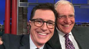 Stephen Colbert appears in a selife with David Letterman while on The Late Show on April 22, 2014. - Provided courtesy of https://twitter.com/StephenAtHome