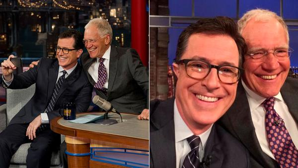 Stephen Colbert appears in a selife with David Letterman while on The Late Show on April 22, 2014. - Provided courtesy of https://twitter.com/StephenAtHome / Jeffrey R. Staab/CBS 2014 CBS Broadcasting Inc. All Rights Reserved