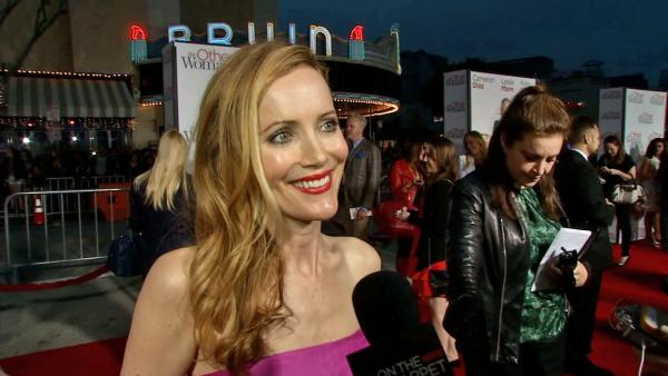 Leslie Mann appears in an interview with OTRC.com at the premiere of The Other Woman on April 21, 2014.