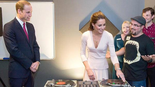 Prince William and Kate Middleton, aka Catherine, Duchess of Cambridge, visit The Northern Sound System and try their hands at DJing with DJ Shane Peterer in Adelaide, Australia on April 23, 2014. - Provided courtesy of Rex Features/Startraksphoto.com
