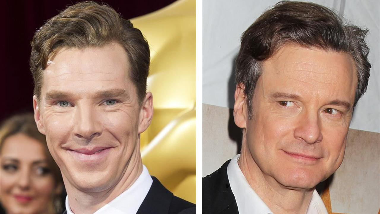 Benedict Cumberbatch appears at the Oscars on March 2, 2014. / Colin Firth appears at The Railway Man premiere on April 7, 2014. He had praised Cumberbatch as an alarmingly talented English star in Times 100 Most Influential People issue.