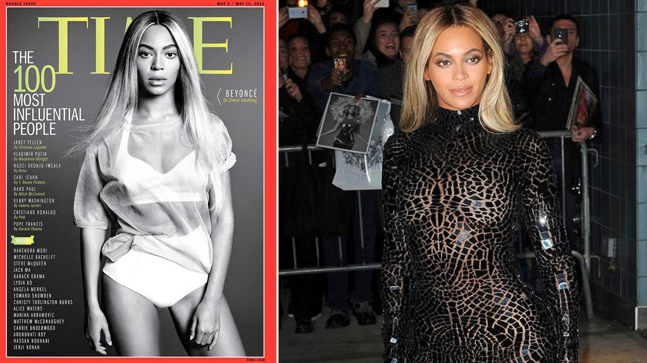 Beyonce appears on the cover of Time magazines 100 Most Influential People cover, released on April 24, 2014. / Beyonce appears at the SVA Theater in New York City on Dec. 21, 2013.