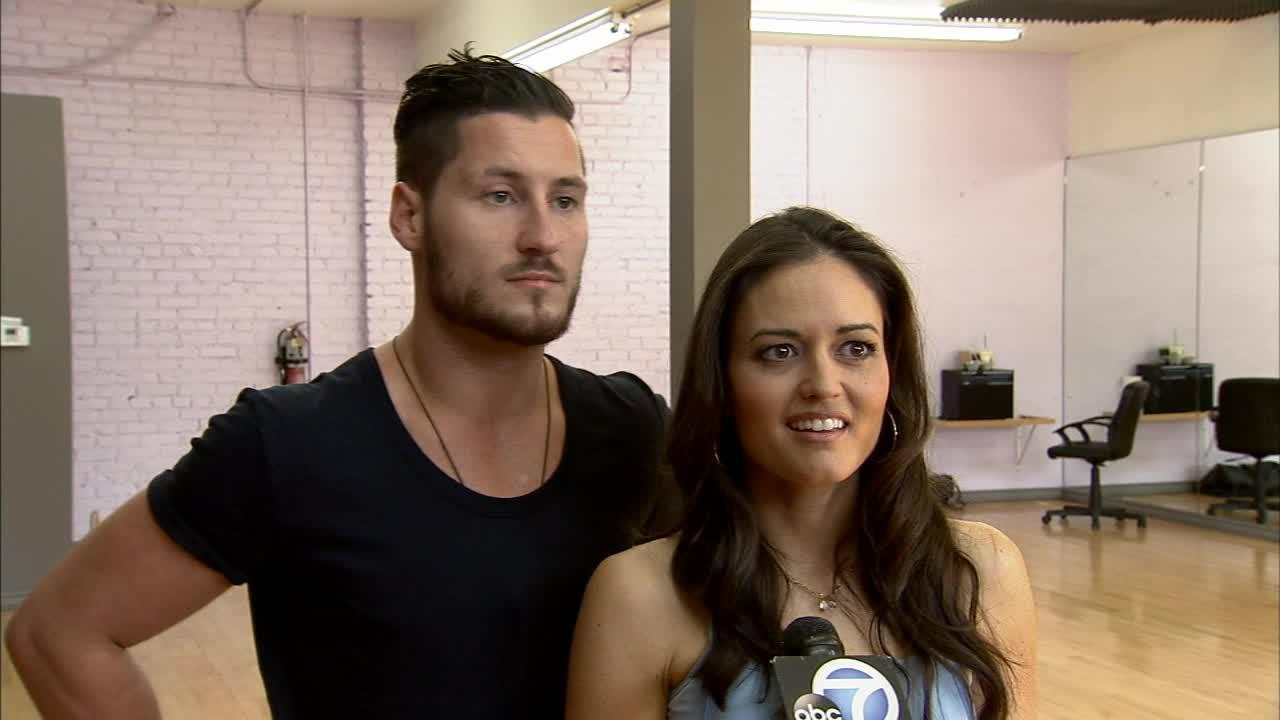 Danica McKellar and Val Chmerkovskiy talk to OTRC.com at a Dancing With The Stars rehearsal on April 24, 2014. McKellar said the next day that she broke a rib in rehearsal.