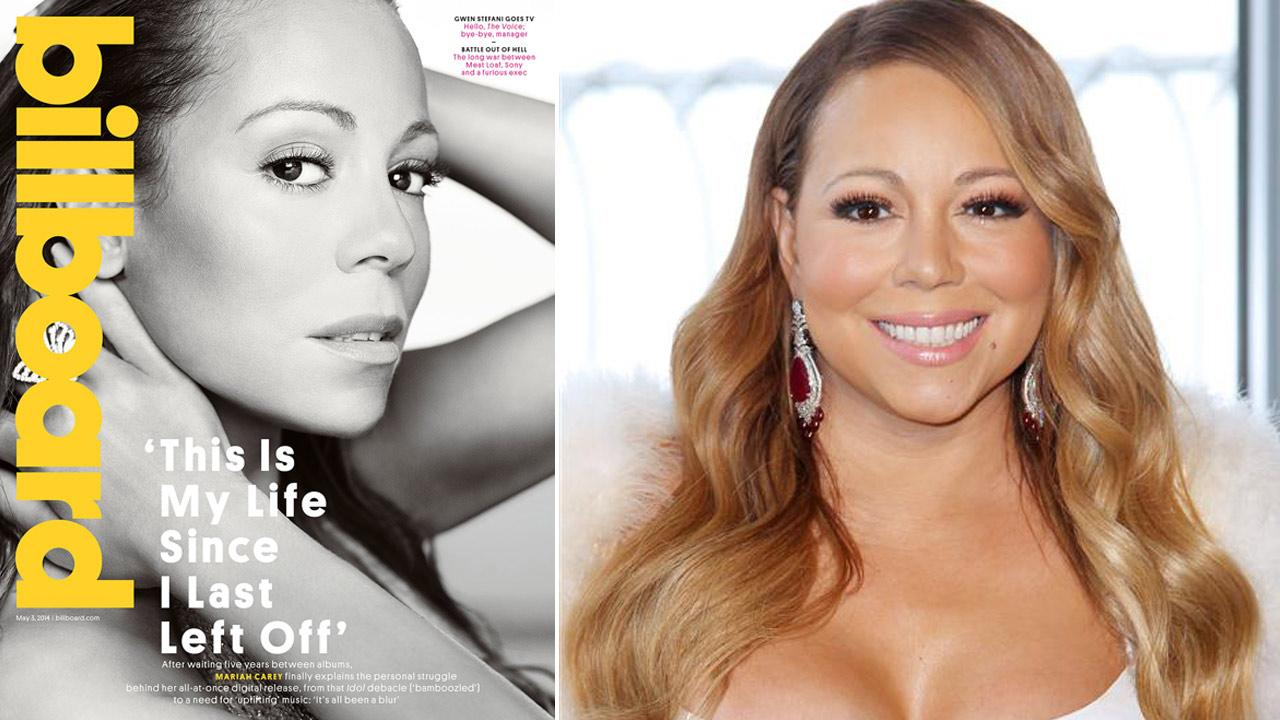 Mariah Carey lights the Empire State Building red and pink in honor of the 20th Annual Valentines Day Wedding Event LOVE ABOVE ALL on Feb. 13, 2014. / Mariah Carey appears on the May 3, 2014 cover of Billboard magazine.