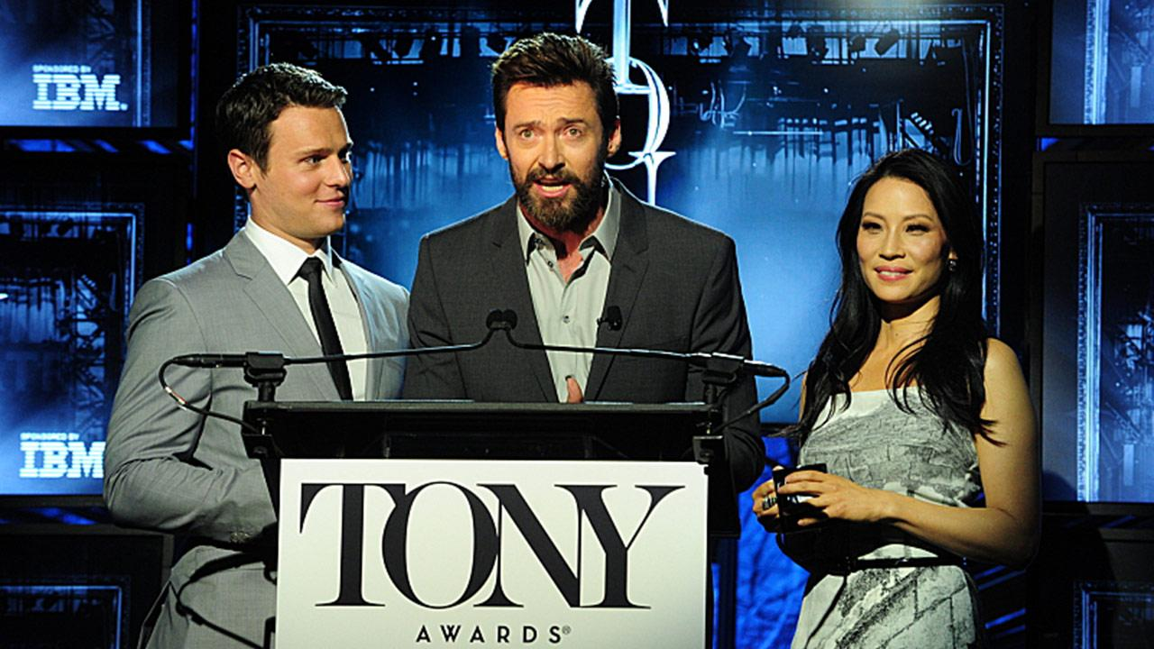 Jonathan Groff, Hugh Jackman and Lucy Liu announce the 2014 Tony Award nominees in New York on April 29, 2014.