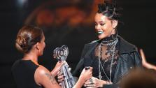 Recording artists Melanie Brown and Rihanna accepts the award for Best Fan Army onstage during at the iHeartRadio Music Awards held at the Shrine Auditorium in Los Angeles on May 1, 2014. - Provided courtesy of Mark Davis/NBC