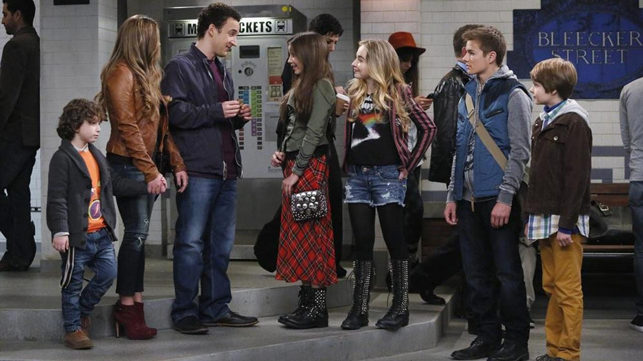 August Maturo, Danielle Fishel, Ben Savage, Rowan Blanchard, Sabrina Carpenter, Peyton Meyer, Corey Fogelmanis appear in a scene from the pilot episode of Girl Meets World, which premieres on June 27, 2014.