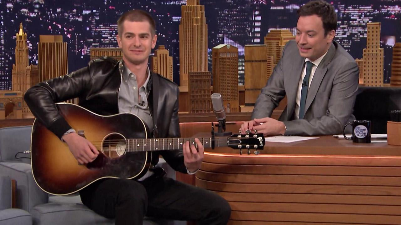 Andrew Garfield appears on The Tonight Show Starring Jimmy Fallon on May 1, 2014.