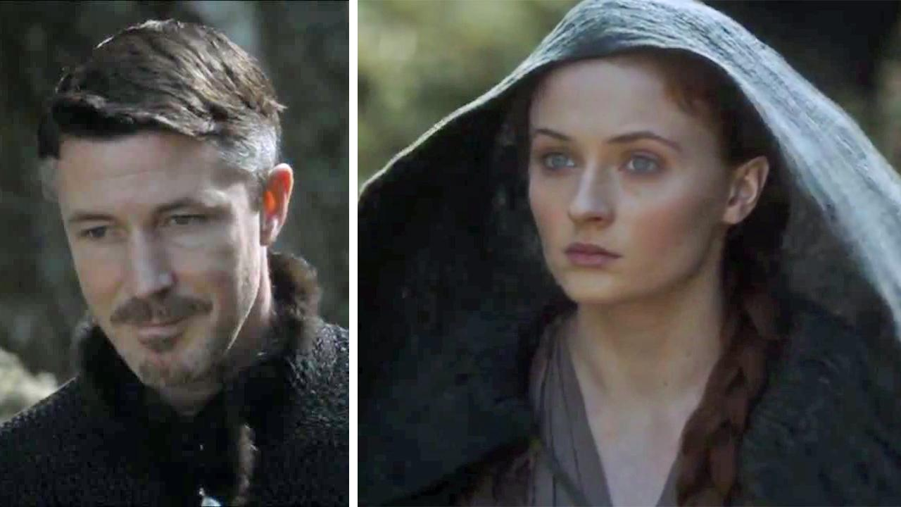 Petyr Littlefinger Baelish and Sansa Stark (Aidan Gillen and Sophie Turner) appear in Game of Thrones season 4, episode 5, First of His Name, which aired on HBO on May 4, 2014.