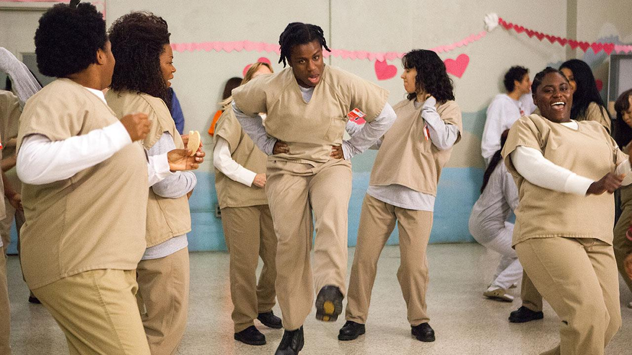 Left to right: Adrienne C. Moore, Lorraine Toussaint, Uzo Aduba and Danielle Brooks appear in a scene from Orange is the New Black season 2 in 2014.