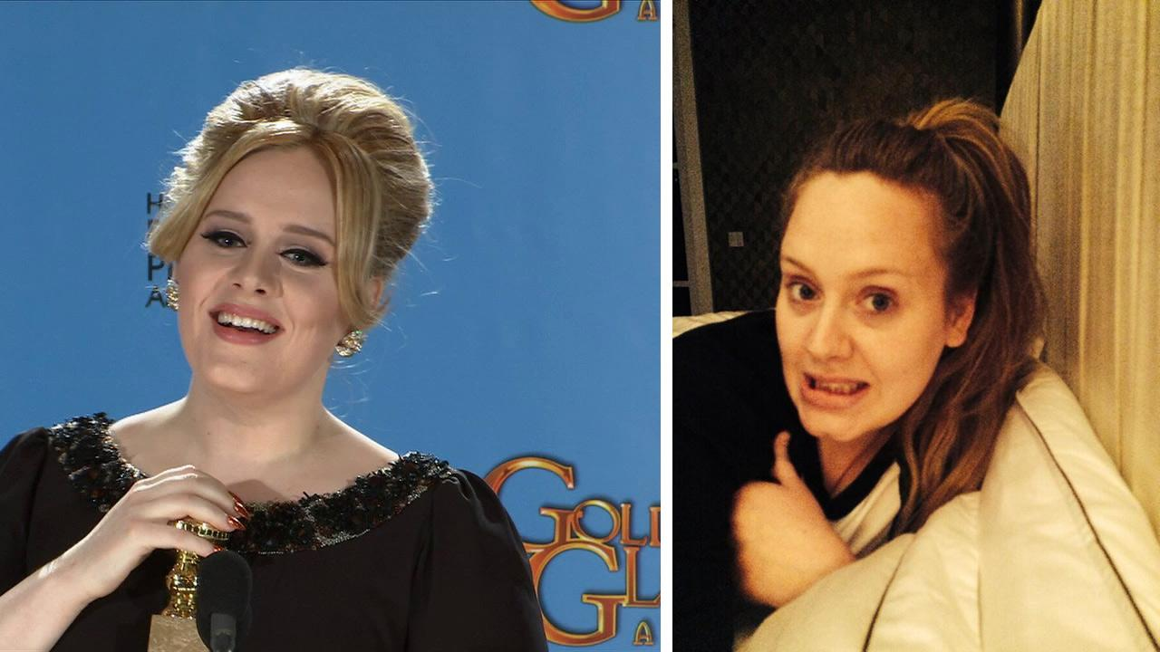 Adele shared this photo of herself with no makeup late on May 4, just before she turned 26. <span class=meta>(twitter.com&#47;OfficialAdele)</span>