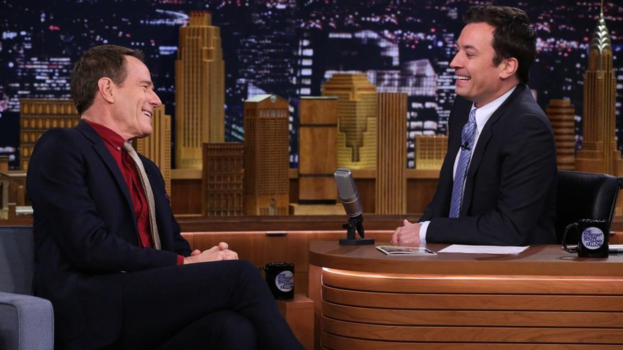 Bryan Cranston appears on The Tonight Show Starring Jimmy Fallon on May 5, 2014.