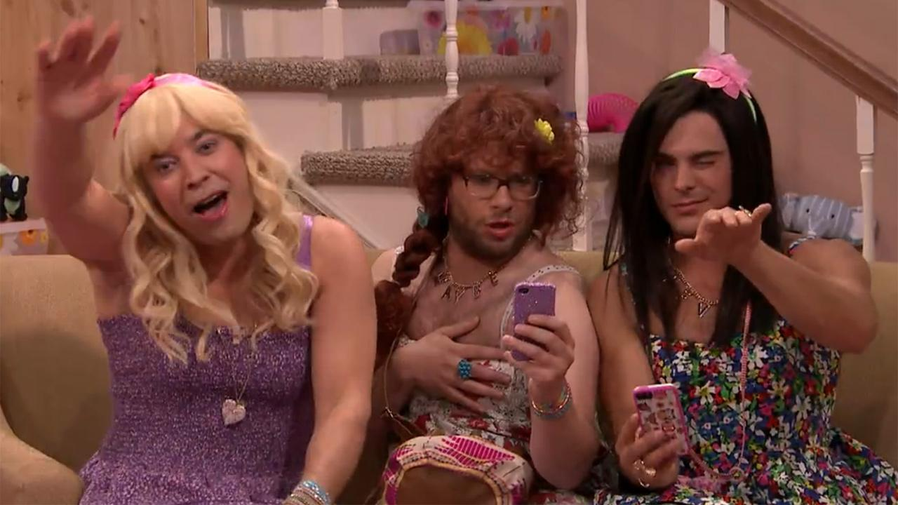 Zac Efron, Seth Rogen and Jimmy Fallon dress in drag and joke about James Franco in a Tonight Show skit titled Ew! that aired on May 6, 2014.