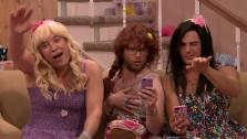 Zac Efron, Seth Rogen and Jimmy Fallon dress in drag and joke about James Franco in a Tonight Show skit titled Ew! that aired on May 6, 2014. - Provided courtesy of NBC