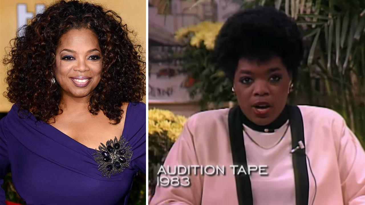 Oprah Winfrey appears in an audition tape from 1983. / Oprah Winfrey appears at the 20th Annual Screen Actors Guild Awards on Jan. 18, 2014.