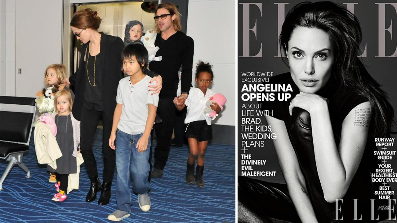 Angelina Jolie and Brad Pitt appear with kids Shiloh, Vivienne, Pax and Zahara at Narita International Airport in Tokyo on Nov. 10, 2011. / Angelina Jolie appears on the cover of ELLE magazines June 2014 issue.