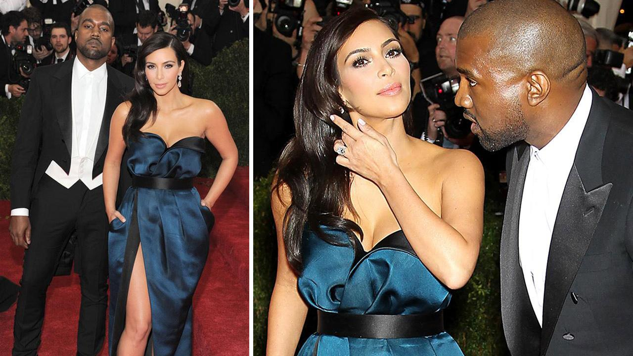 Kanye West and Kim Kardashian appear at the Metropolitan Museum of Arts 2014 Costume Institute Benefit gala, celebrating Charles James: Beyond Fashion, in New York on May 5, 2014.