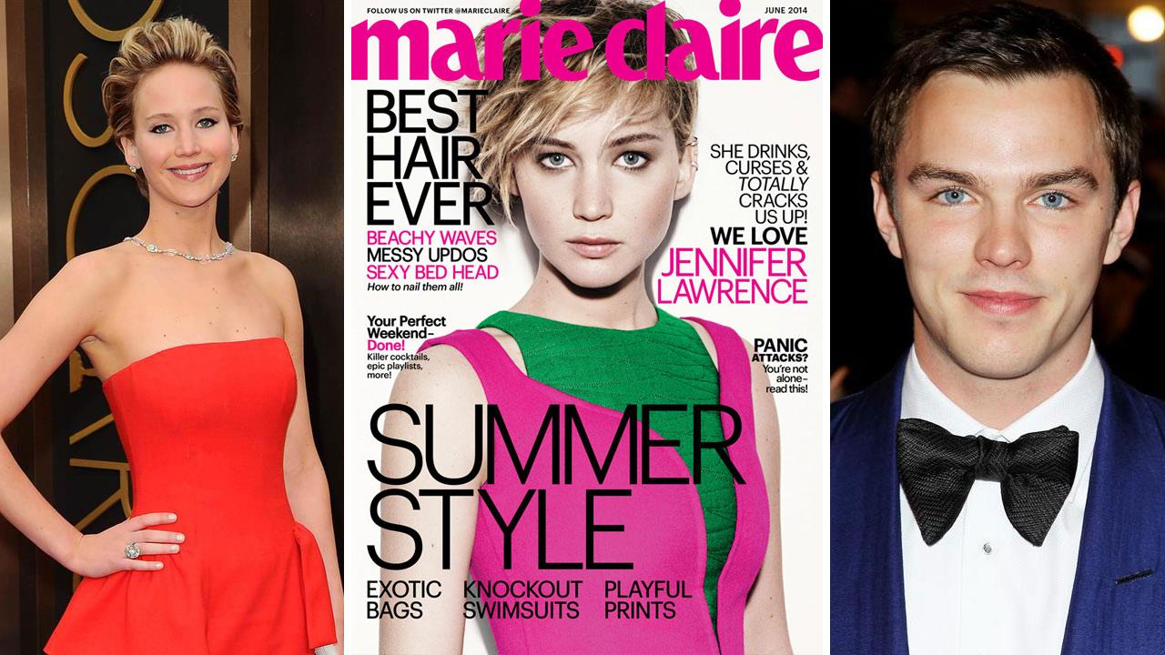 Jennifer Lawrence appears at the Oscars on March 2, 2014. /  Lawrence appears on the June 2014 cover of Marie Claire. / Nicholas Hoult appears at the PUNK: Chaos To Couture Costume Institute Gala on May 6, 2013.