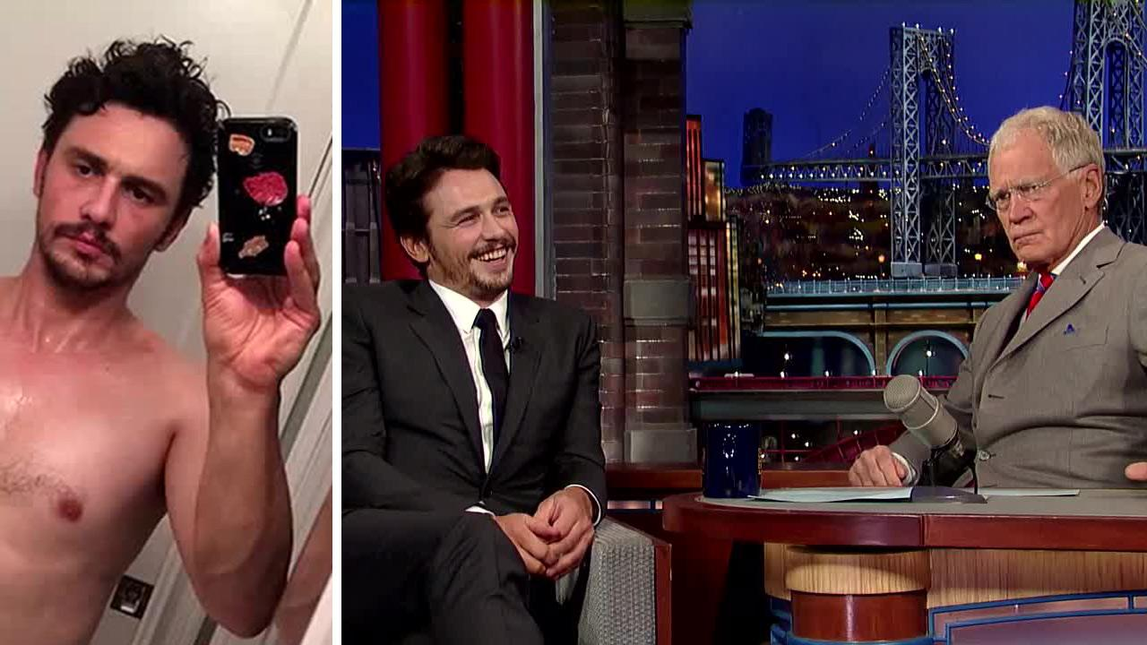 James Franco appears in an almost-nude Instagram selfie, posted on May 1 and then deleted. / James Franco talks about the photo in an interview on CBS The Late Show with David Letterman on May 8, 2014.