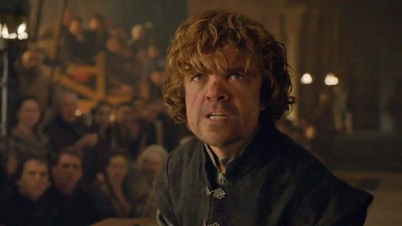 Tyrion Lannister appears at his trial, in which he is accused of killing King Joffrey, in this scene from HBOs Game of Thrones, season 4, episode 6, which aired on May 11, 2014.