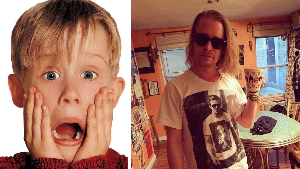Macaulay Culkin appears in a Home Alone publicity photo. / In this picture posted on Twitter by Culkins band, Pizza Underground, on May 11, 2014,  Macaulay Culkin wears a a T-shirt showing Ryan Gosling wearing a tee with an image of the former actor.