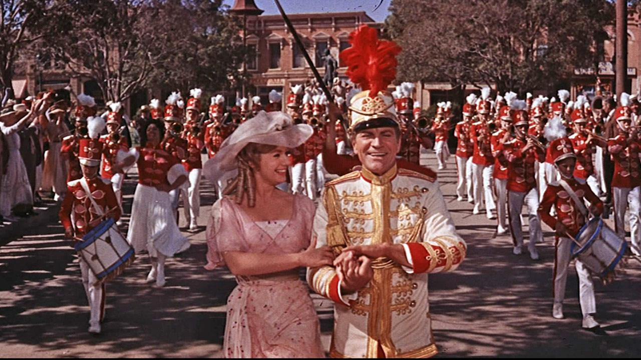 Robert Preston and Shirley Jones appear in a scene from the 1962 musical film The Music Man.