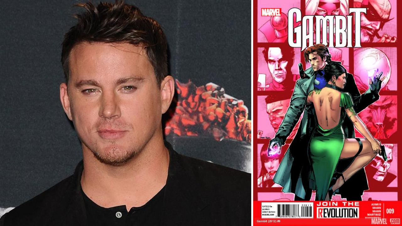 Channing Tatum appears backstage at the 2014 MTV Movie Awards in Los Angeles on April 13, 2014. / The cover of Marvels 2012 Gambit comic No. 9.