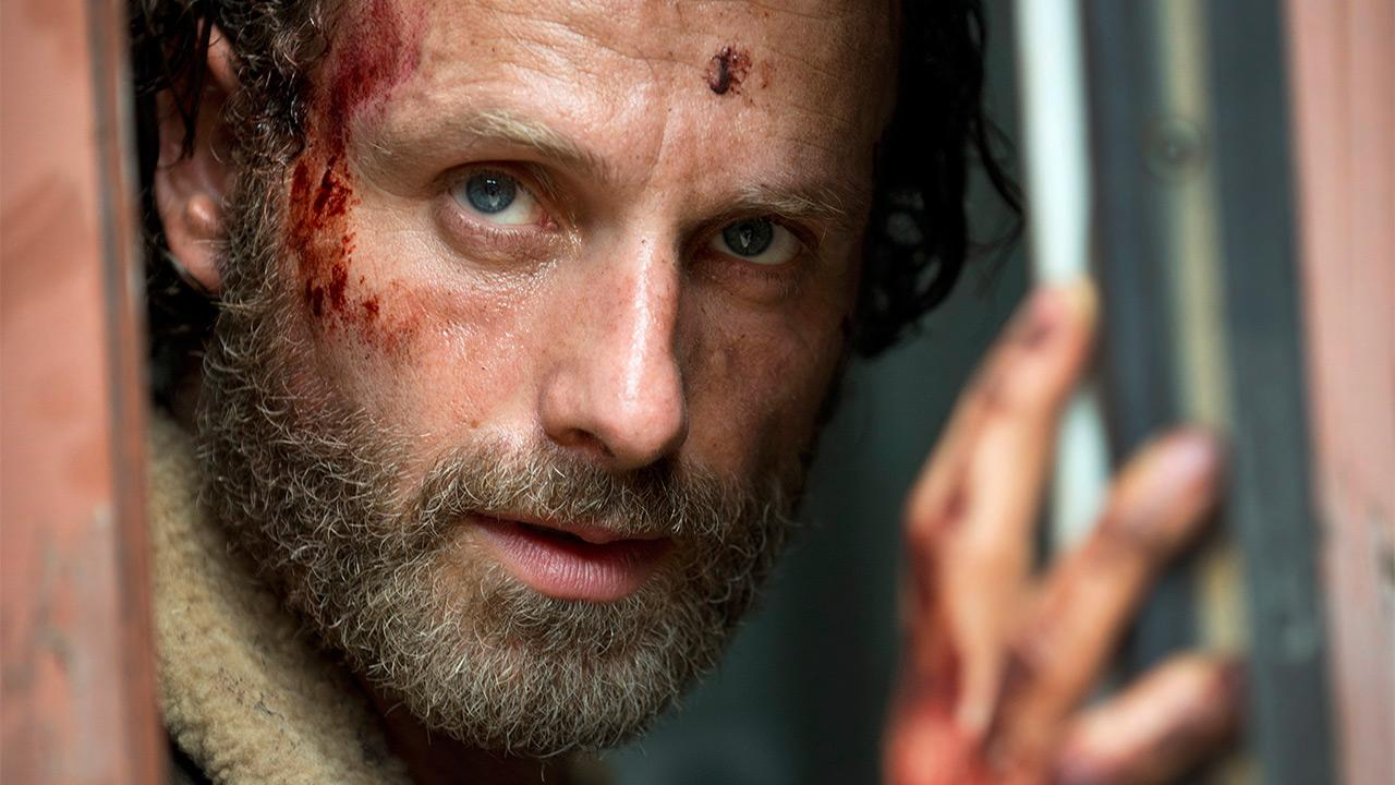 Andrew Lincoln appears as Rick Grimes in this first photo for AMCs The Walking Dead season 5, which is set to premiere in October 2014.