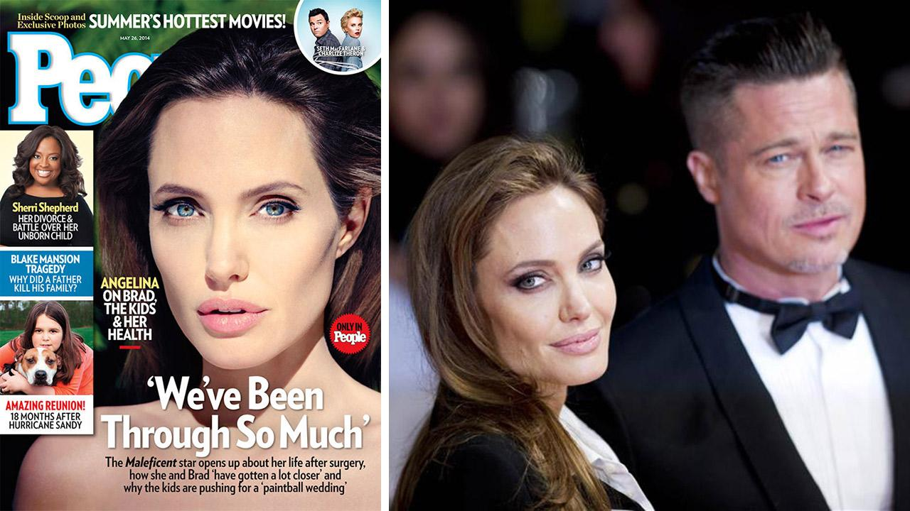 Angelina Jolie appears on the cover of People magazines May 26, 2014 issue. / Angelina Jolie and Brad Pitt appear at the 2014 EE British Academy Film Awards (BAFTA) at the Royal Opera House in London on Feb. 16, 2014.