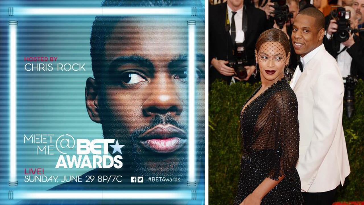 Chris Rock appears in a publicity photo for the 2014 BET Awards. He is the host. / Jay Z and Beyonce attend the Metropolitan Museum of Arts Costume Institute benefit gala celebrating Charles James: Beyond Fashion in New York on May 5, 2014.