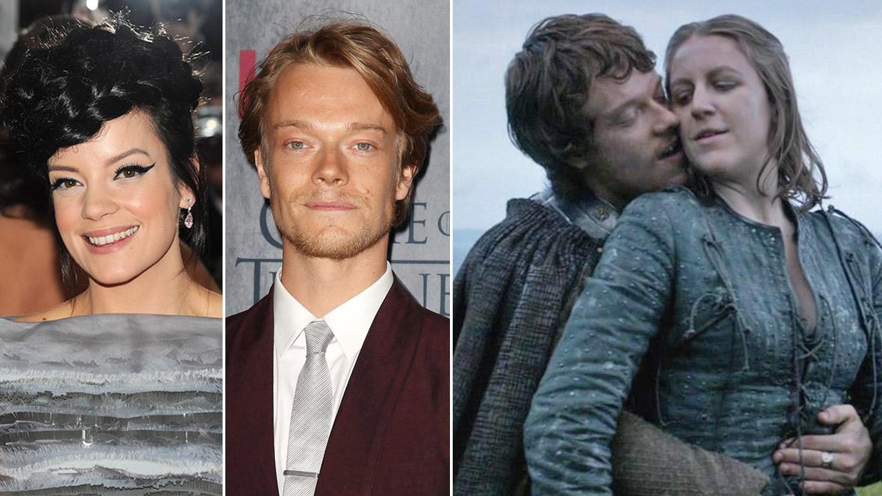 Lily Allen attends the Met Gala on May 5, 2014. /  Alfie Allen attends the premiere of Game of Thrones on March 18, 2014. / Alfie Allen and Gemma Whalen appear as Theon and Yara Greyjoy in an episode of Game of Thrones that aired on April 8, 2012.