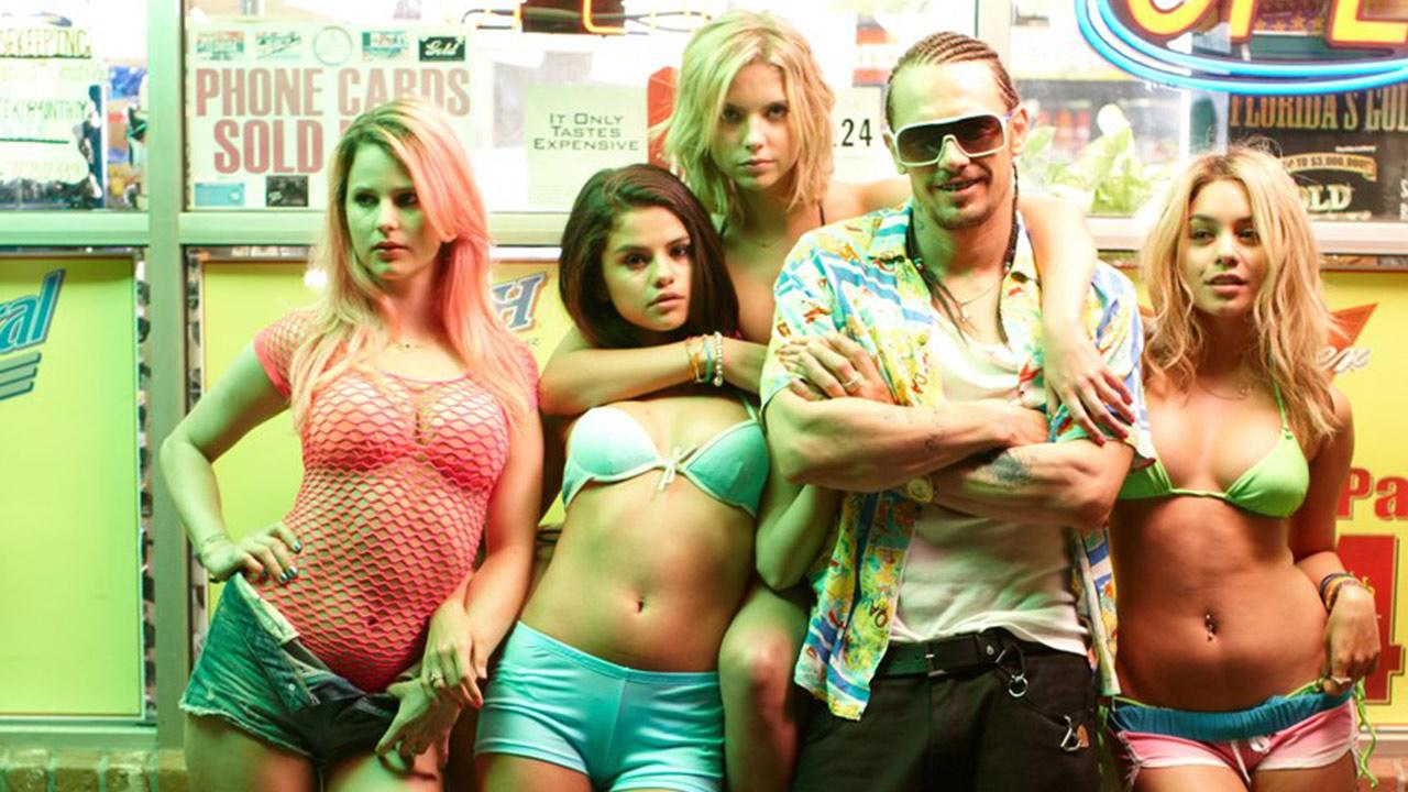 Rachel Korine, Selena Gomez, Ashley Benson, James Franco and Vanessa Hudgens appears in a publicity photo for the 2012 movie Spring Breakers.