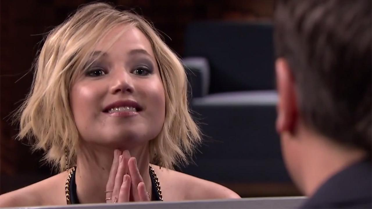 Jennifer Lawrence faces off against Jimmy Fallon in a Box of Lies game on The Tonight Show on May 15, 2014.