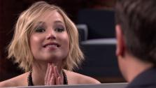 Jennifer Lawrence faces off against Jimmy Fallon in a Box of Lies game on The Tonight Show on May 15, 2014. - Provided courtesy of NBC