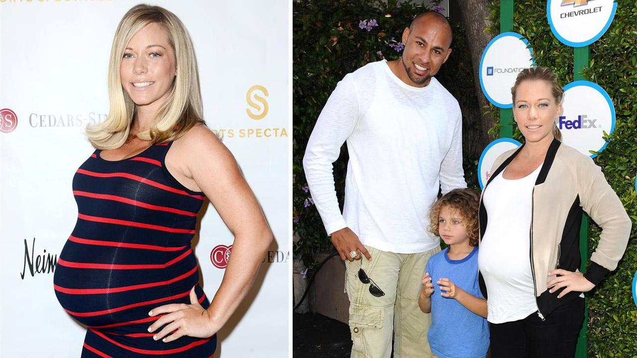 A pregnant Kendra Wilkinson appears at the Beverly Hills Hotel in Beverly Hills, California on April 8, 2014. /  Kendra Wilkinson, Hank Baskett and Hank VI appear at the 2014 Safe Day Kids event in Los Angeles on April 5, 2014.