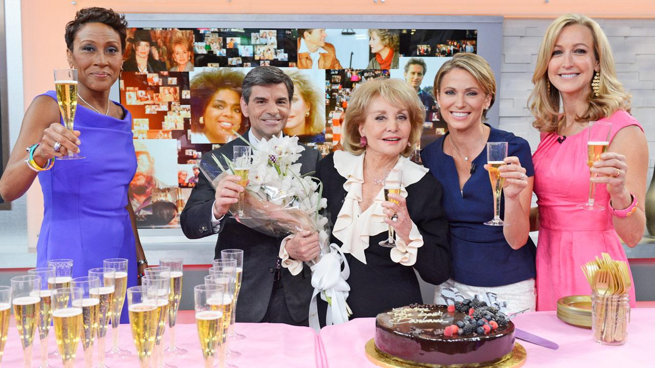 Robin Roberts, George Stephanopoulos, Barbara Walters, Amy Robach and Lara Spencer appear on Good Morning America on May 16, 2014.