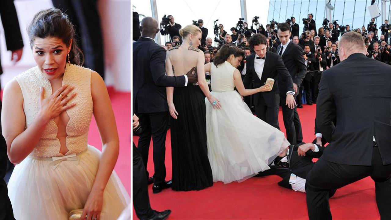 America Ferrera became the latest victim of the notorious prankster of celebrities, Ukrainian reporter Vitalii Sediuk, at a screening of How To Train Your Dragon 2 at the 2014 Cannes Film Festival on Friday, May 16.