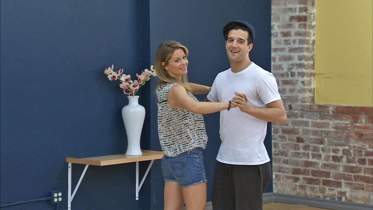 Candace Cameron Bure and Mark Ballas rehearse for the Dancing With The Stars season 18 finale on May 15, 2014.